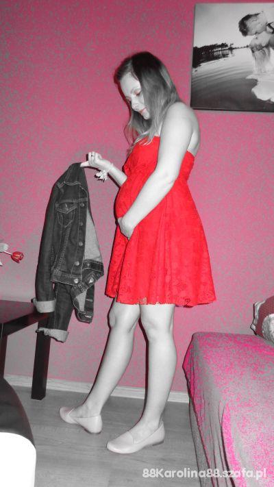 Mój styl Zara koronkowa czerwona sukienka