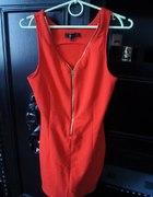 czerwona sukienka C&A z zamkiem