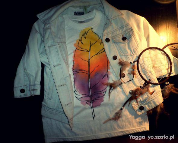 T-shirt Tshirt Z PIÓREM handmade ręcznie malowany