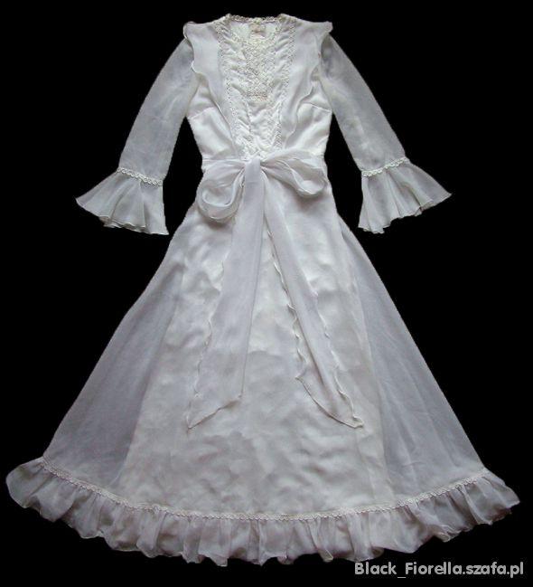 Długa biała suknia maxi victorian horror vintage