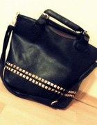 shopper bag torebka czarna ćwieki
