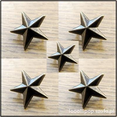 Pozostałe Ćwieki gwiazdki stare zloto miedziane 10mm