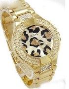 Złoty zegarek GUESS panterka cyrkonie piękny