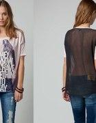 tiulowa bluzka koszulka bershka