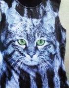 bluzka bez rękawów hipster kotek S M new look