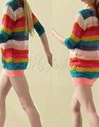 tęczowy sweter siatka japan style