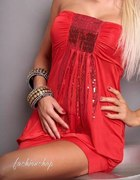 sukienka mini sexy czerwień cekiny bombka