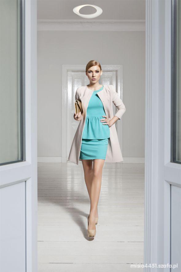 Do pracy DanHan zestaw sukienka płaszczyk ala żakiet