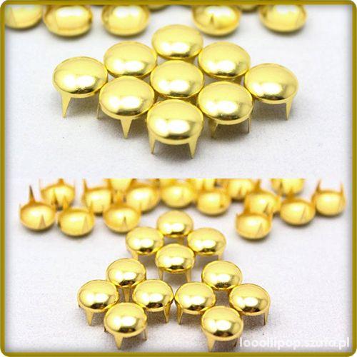 Pozostałe złote ćwieki pukle okrągłe srednica 8mm