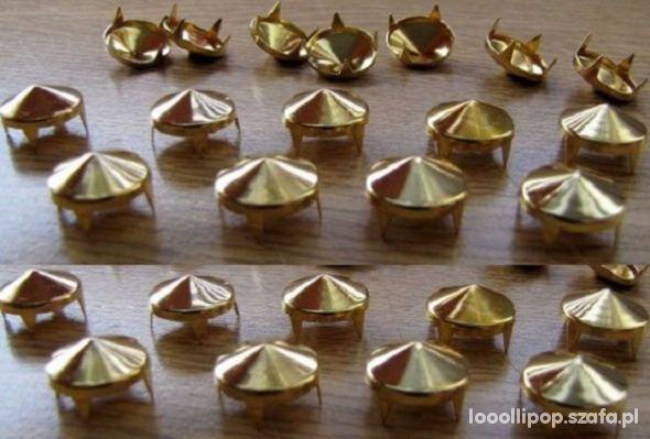 Pozostałe Złote Ćwieki stożki kolce okrągle 12mm