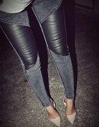 szare spodnie skórka wstawka