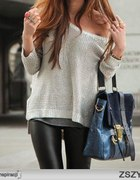 silver sweater and black leggings...