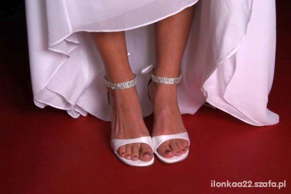 Sandały szpilki slubne biale curkonie