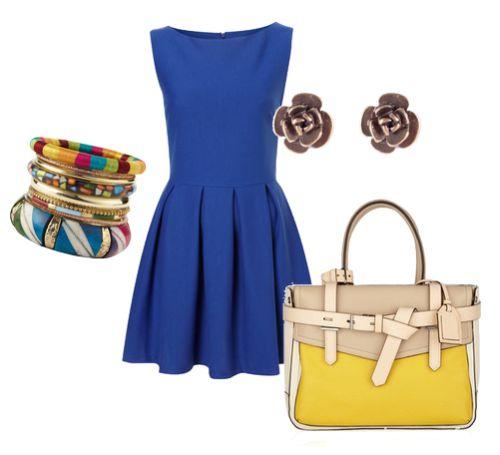 Romantyczne kobaltowa sukienka z kolorowymi dodatkami
