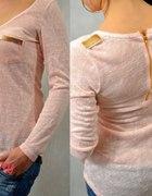 pudrowa bluzka włoska zamek zip