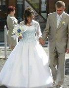 błękit koronki kwiaty moja suknia ślubna svarowski