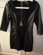 Czarna sukienka z imitacją skóry hit sezonu