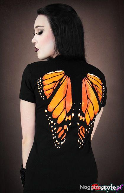 T shirt motyl monarcha skrzydła na plecach damska