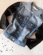 katanka jeans ze skórzanymi rękawami