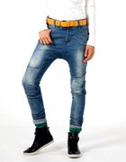 Spodnie Baggy Bershka alladynki jeans ćwieki