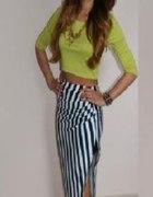 Mega zestaw maxi spodnica i bluzka neon