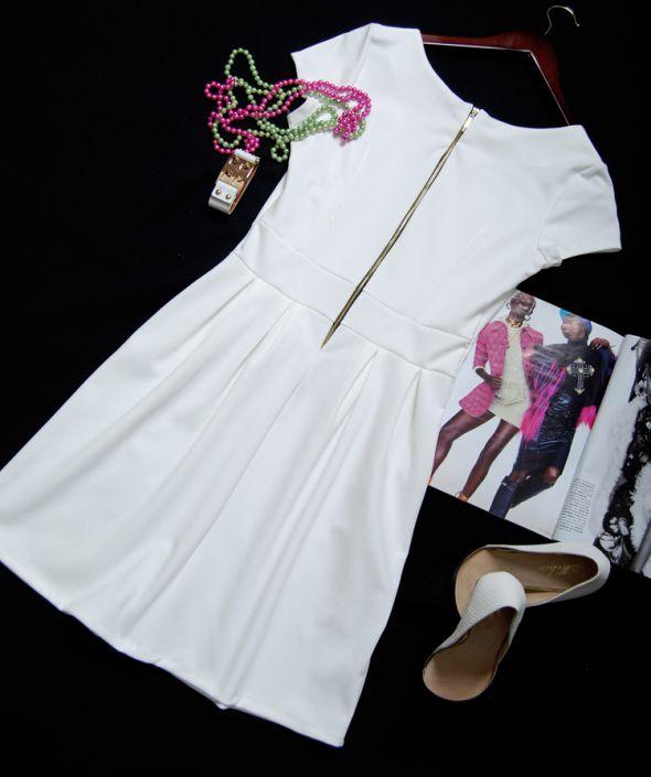 S M L 3 KOLORY sukienka z zamkiem zipem