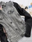 LILY WHITE kurteczka jeansowa rękawy skórzane M 38