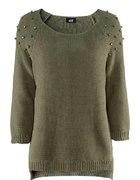 h&m zielony sweterek z dżetami