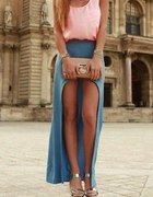 Błekitna spodnica asymetryczna