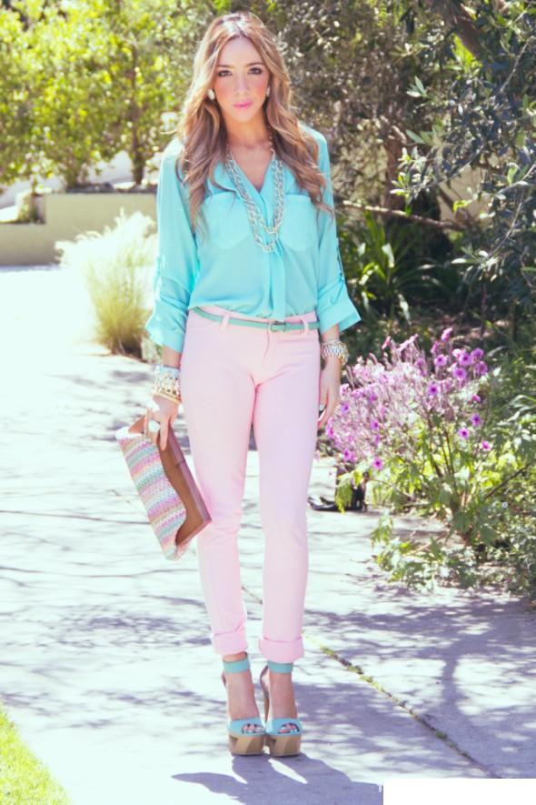 Mój styl pudrowe spodnie