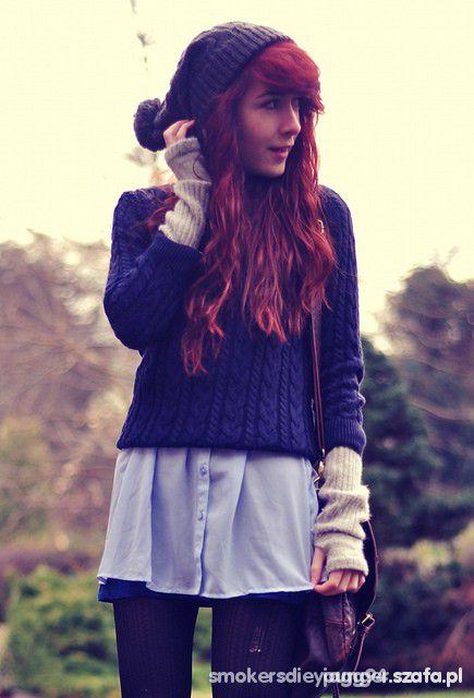 Mój styl Boski granatowy sweterek z h&m