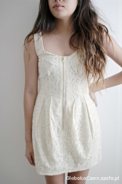 Koronkowa sukienka zip h&m suwak