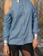 Koszula dżins dziury odkryte ramiona cut out S M