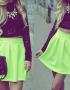 Neon skirt and black