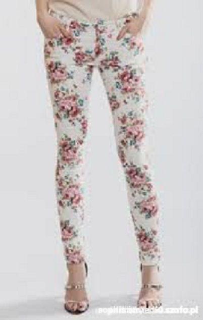 Ubrania spodnie floral w kwiatki S M