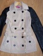 Płaszczyk kurtka skórzane rękawy nude zip