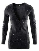 H&M kardigan sweter czarny perełki perły