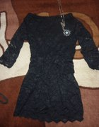 czarna koronkowa tunika