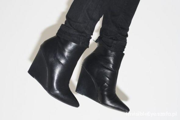POINTED WEDGES koturny czarne H&M zip...