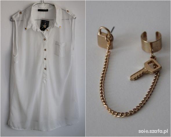 Transparentna koszula i kolczyk