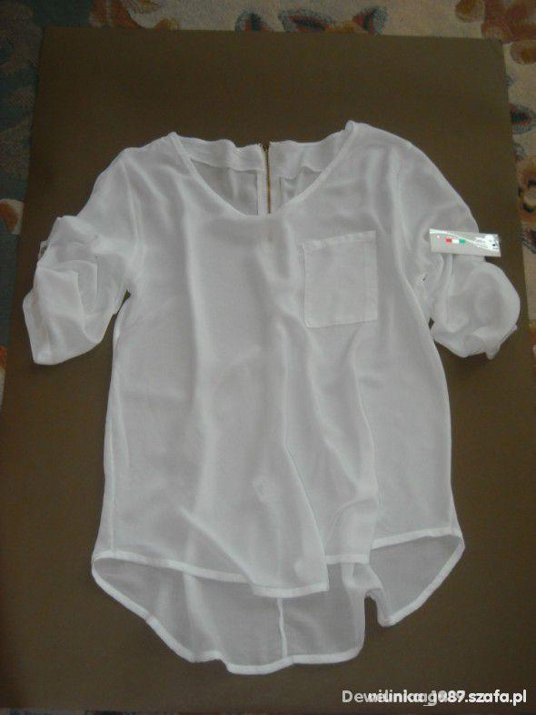 Biała bluzka z kieszonką i z zamkiem oversize