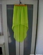 Neonowa limonkowa asymetryczna 36 szyfonowa maxi