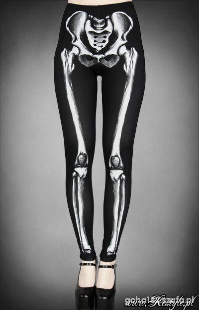 legginsy kościotrup kości żebra restyle glove punk...