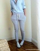 szare spodnie dresowe baggy h&m nowe