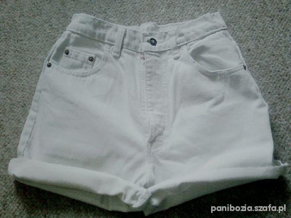 białe white szorty wyższy stan r S DIY
