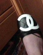 Baleriny CHANEL czarne z bialym logo r 40 NOWE