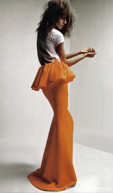 Eleganckie spódnica maxi z baskinką