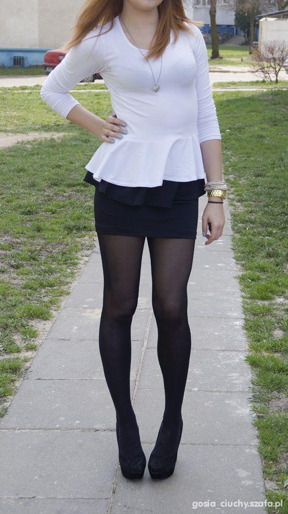 Eleganckie Biała bluzka z baskinką i baskinka
