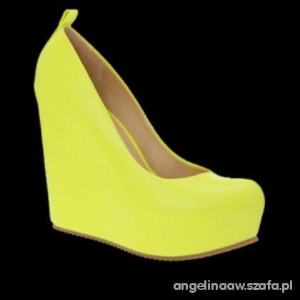żółte koturny zamszowe 41