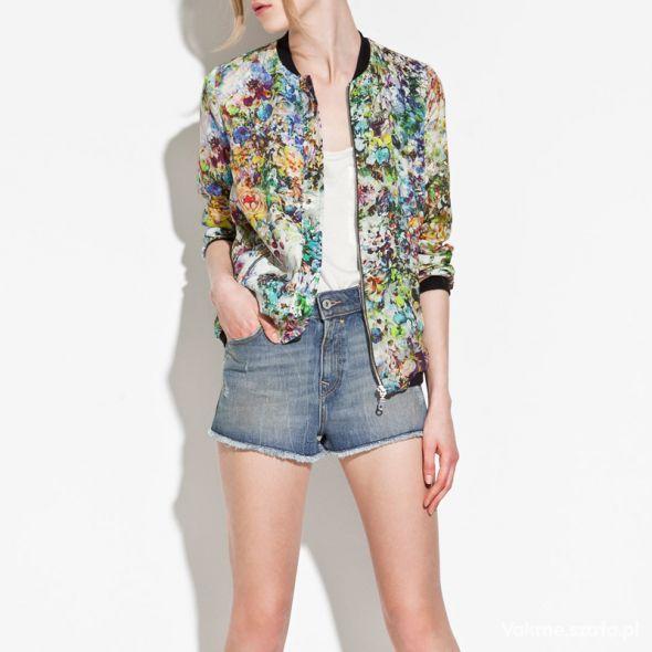 Odzież wierzchnia Zara kurtka floral kwiaty wiatrówka